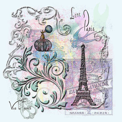 Digital Art - Love Paris by Linda Carruth