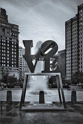 Of Indiana Photograph - Love Park Bw by Susan Candelario
