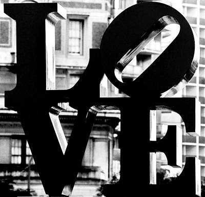 Photograph - Love Philadelphia Black And White  by Terry DeLuco