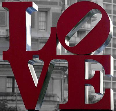 Photograph - Love Philadelphia Dark Red  by Terry DeLuco