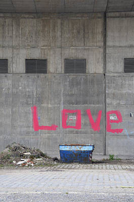 Love - Pink Painting On Grey Wall Art Print by Matthias Hauser