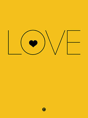 Love Poster Yellow Art Print by Naxart Studio