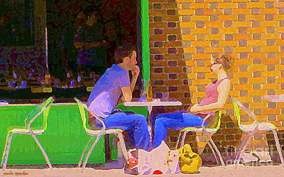 Painting - Love Potion Number Nine Romantic Drink For Two Paris Style Sidewalk Cafe Bistro Scene C Spandau  by Carole Spandau