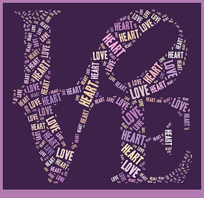 Purple Digital Art - Love Quatro - Heart - S77a by Variance Collections