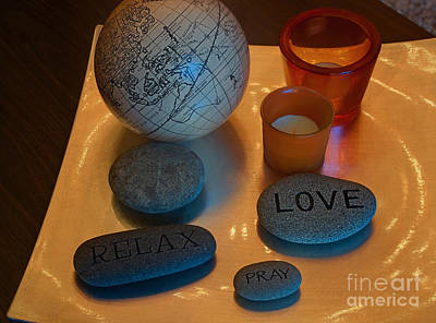 Photograph - Love Relax Pray Stone Still Life by Valerie Garner