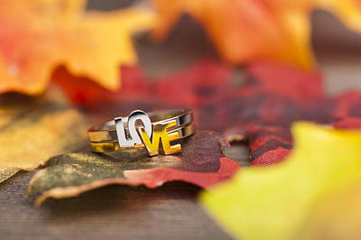 Gold Leaf Ring Photograph - Love Ring by U Schade