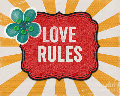Signed Mixed Media - Love Rules by Linda Woods