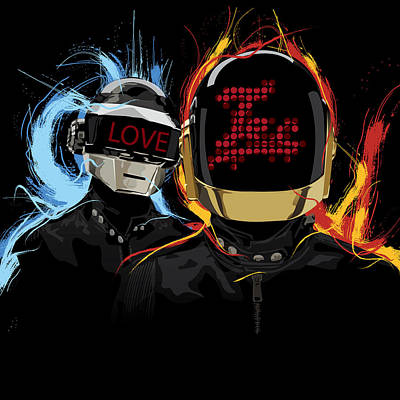 Daft Punk Mixed Media - Love Tec by Lawrence Carmichael