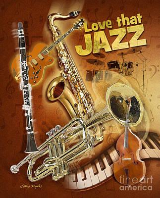 Trumpet Digital Art - Love That Jazz by Chris Rhynas