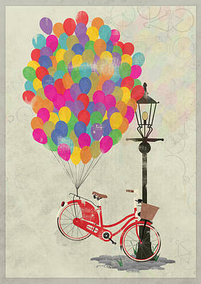 Love To Ride My Bike With Balloons Even If It's Not Practical. Art Print by Andy Scullion