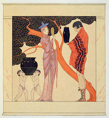 Greek Vase Painting - Love Token by Georges Barbier