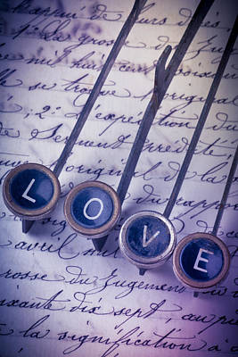 Love Type On Old Letter Art Print by Garry Gay