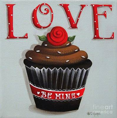 Chocolate Cake Painting - Love Valentine Cupcake by Catherine Holman