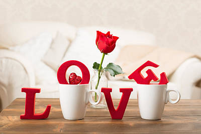 Table Setting Photograph - Love With Teacups by Amanda Elwell