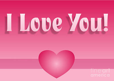 Digital Art - Love You Big Banner by JH Designs