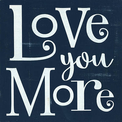 Painting - Love You More - Navy by Alli Rogosich