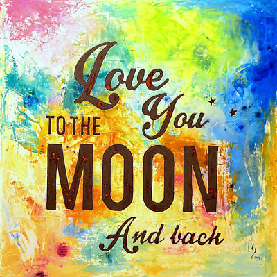 Family Love Painting - Love You To The Moon And Back  by Ivan Guaderrama