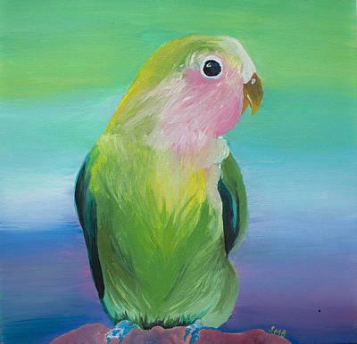 Peach-faced Lovebird Original by Sasha Ballon