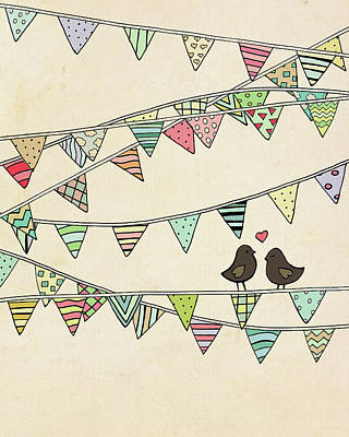 Flag Day Painting - Lovebirds Banner by Lisa Barbero