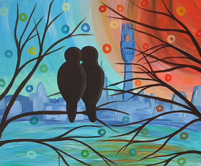 Lovebird Mixed Media - Lovebirds In P-town by Catherine Harms