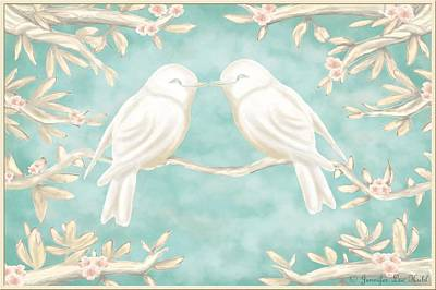 Lovebird Digital Art - Lovebirds by Jennifer Lee Hubl