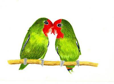 Lovebird Painting - Lovebirds by Michael Vigliotti