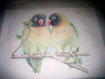 Lovebird Drawing - Lovebirds by Rebecca Strong