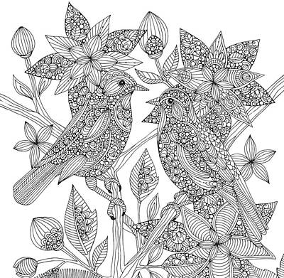 Graphic Drawing - Lovebirds by Valentina Harper