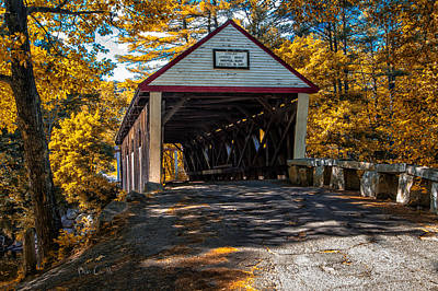Rural Maine Roads Photograph - Lovejoy Covered Bridge by Bob Orsillo
