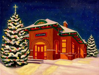 Loveland Depot At Christmas Art Print