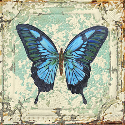 Lovely Blue Butterfly On Tin Tile Art Print