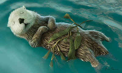Otter Painting - Lovely Day For A Nap by Gary Hanna