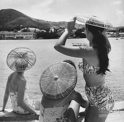 Photograph - Lovely Ladies In Cha Cha Hats by Fritz Henle