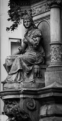 Lovely Lady And Lion Bw Cologne Art Print