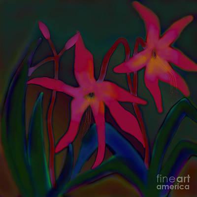 Art Print featuring the digital art Lovely Lilies by Latha Gokuldas Panicker