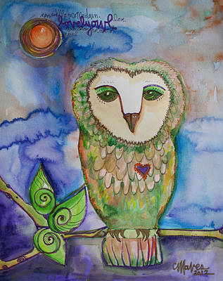 Painting - Lovely Owl by Laurie Maves ART