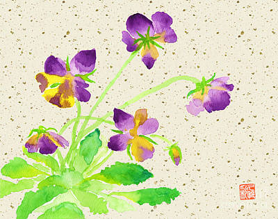Painting - Lovely Pansies In Purple And Yellow With Beige Washi Background by Beverly Claire Kaiya
