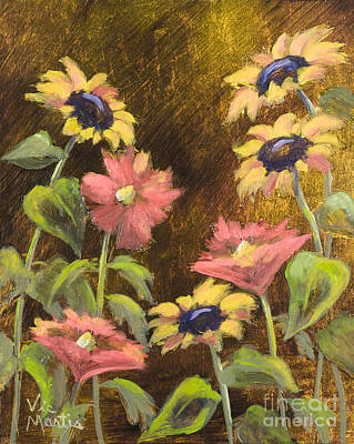 Painting - Sunflowers And Poppies With Gold Leaf By Vic Mastis by Vic  Mastis