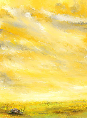Abstract Yellow And Grey Painting - Lovely Sunny Day  by Lourry Legarde