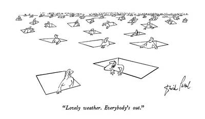 Hole In The Ground Drawing - Lovely Weather.  Everybody's Out by David Pascal