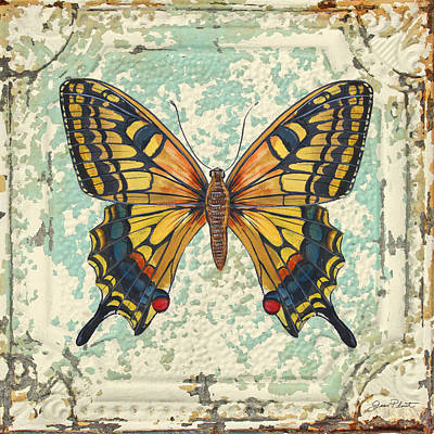 Jean Plout Painting - Lovely Yellow Butterfly On Tin Tile by Jean Plout