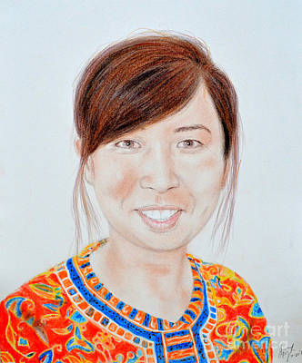 Thai Mixed Media - Lovely Young Asian Woman Smiling by Jim Fitzpatrick