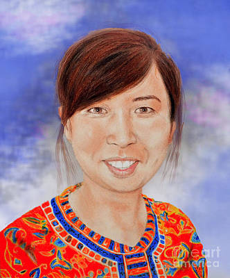 Thai Drawing - Lovely Young Asian Woman Smiling Version II by Jim Fitzpatrick
