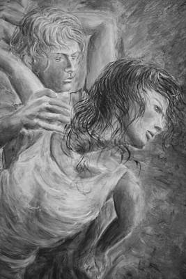 Tango Painting - Lovers Ballet 04 Grey by Nik Helbig