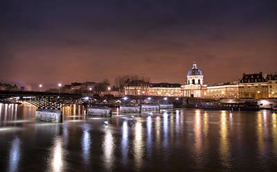 Photograph - Lovers Bridge Paris At Night by Radoslav Nedelchev