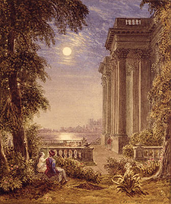 Temple Drawing - Lovers By Moonlight, 1831 by George the Younger Barret