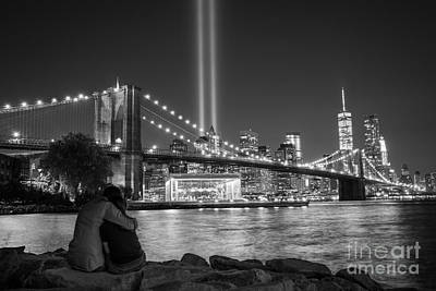 911 Memorial Photograph - Lovers Embrace Bw by Michael Ver Sprill