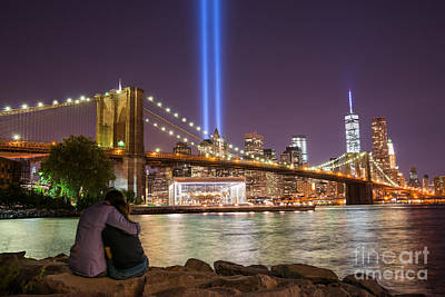 911 Memorial Photograph - Lovers Embrace by Michael Ver Sprill