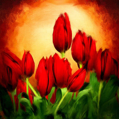 Tulips Digital Art - Lover's Hearts by Lourry Legarde