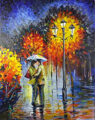 Night Lamp Mixed Media - Lovers In The Rain by Harry Speese